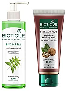Biotique Bio Neem Purifying Face Wash, 200 ml & Biotique Bio Walnut Purifying and Polishing Scrub, 100g