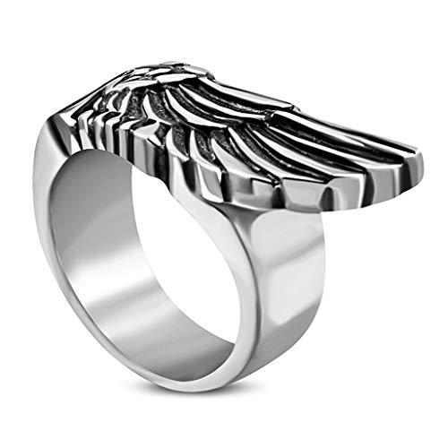 Autiga Cooler Edelstahl Herren-Ring Flügel Engel Adler Biker Männer Silber 62 - Ø 19,76 mm