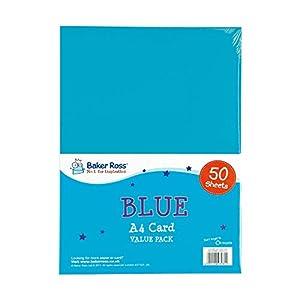 Baker Ross EV868 - Cartulinas (A4, 50 Unidades), Color Azul