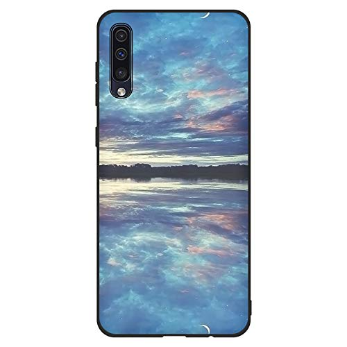 Aksuo for Samsung Galaxy A50 Schwarz Hülle Silikon, TPU Silikonhülle Handyhülle Kratzfest Stylisch Muster Design Robust Leicht Case - Der Schatten des Hellen Himmels