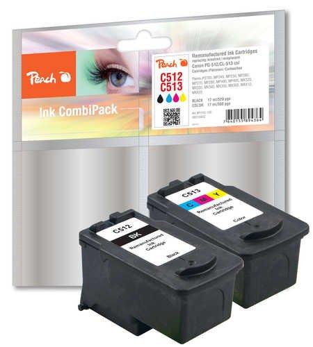 Preisvergleich Produktbild Peach Spar Pack Druckköpfe kompatibel zu Canon PG-512, CL-513