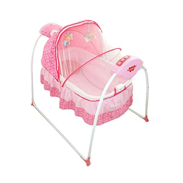 Mr.LQ Baby Cradle Baby Shaker Baby Sleepy Baby Artifact Multi-Function Intelligent Electric Crib,Pink,94x79x42cm  Five advantages of electric cradle 01 easy to sleep, baby is easy to fall asleep, liberating mother's hands 02 puzzle is good for baby brain development 1
