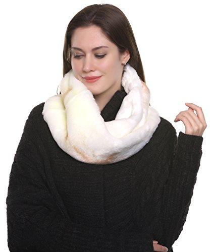 Favolosa sciarpa infinita scaldacollo Adelaqueen per donna, in finta pelliccia, avorio e (Pelliccia Bomber Giacca In Pelle)