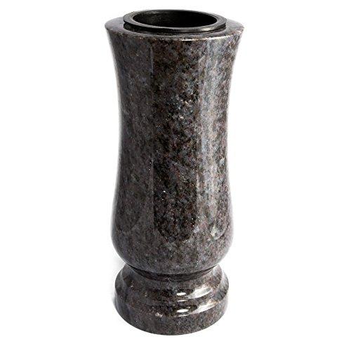 Stilvolle Grabvase aus echtem Granit Orion (dunkel) Höhe 28 cm / Ø 12 cm Grabschmuck wetterfest frostsicher Granitvase mit Kunststoffeinsatz Friedhofsvase