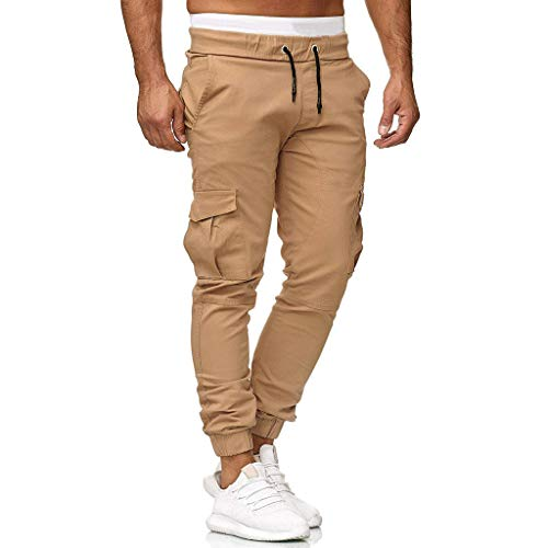Knowin Pants Herren Jogginghose Hose Lässige elastische Jogginghose Sport Solide Baggy Pockets Hose und Freizeithose mit Einfarbig Trainingshose Jogging-Hose Sport-Hose Kontrast-Stripes