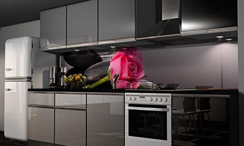 Küchenrückwand Folie selbstklebend Spritzschutz Fliesenspiegel Deko Küchenzeile Rose | mehrere Größen