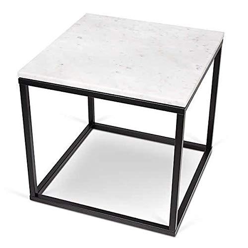 PRAIRIE, table basse ou table d'appoint, en placage de bois ou marbre, de jolies réalisations, bien dans l'air du temps ! - designer : INÊS MARTINHO - table d'appoint carrée, 50 x 50 x 50 cm - Marbre blanc (blanc de Carrare, 2 cm), pieds en acier noir