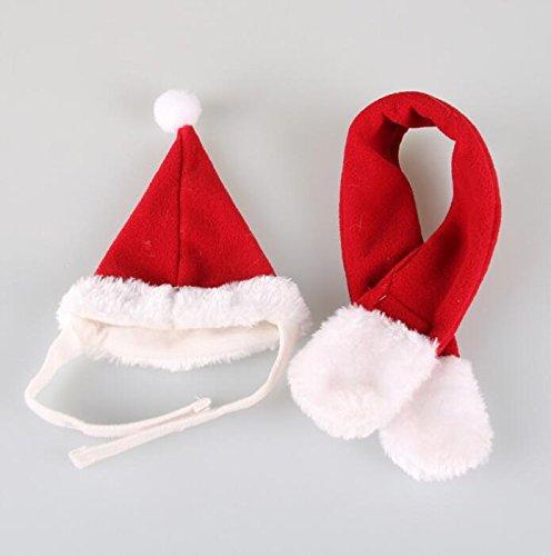 Tery Cute Santa Hat Weihnachten Pet Dog Cat Schal Rot Kostüm Anzug Set ()