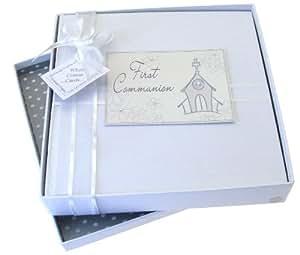 White Cotton Cards - Album fotografico per prima comunione, misura media, motivo: chiesa (lingua inglese)