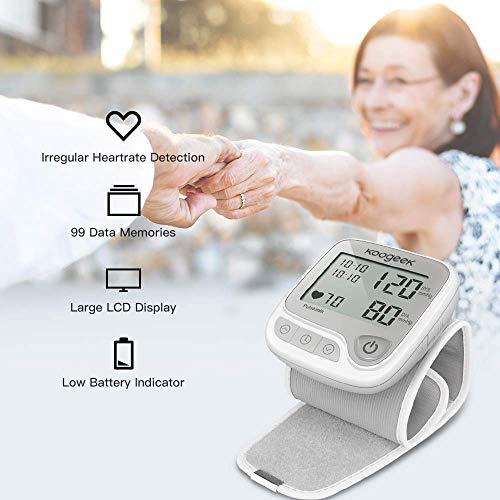 Koogeek Monitor della pressione del polso Precisione garantita completamente automatica Ampio display LCD Intelligent Pressure Technology Store 99 Serie di dati - Compatibile con Apple e Android