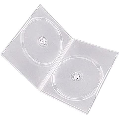 Four Square Media – 10 x CD DVD/Blu Ray 14 mm, Transparente DVD Double Case para 2 discos, 10 unidades)