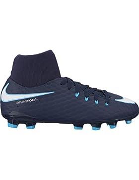 Nike Kids' Jr. Hypervenom Phelon III Dynamic Fit (FG) Firm-Ground Football Boot OBSIDIAN/WHITE-GAMMA BLUE-GLACIER...