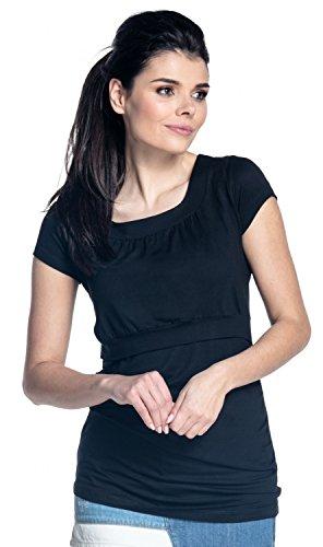 Zeta Ville - Damen Zweilagige-Design Still T-shirt Kurzarm geraffte Büste - 136c Schwarz