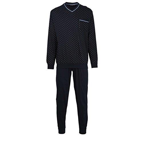 GÖTZBURG Herren Pyjama, langarm, Baumwolle, Single Jersey, navy, bedruckt, mit Bündchen 60 (Set Baumwoll-jersey-pyjama Aus)