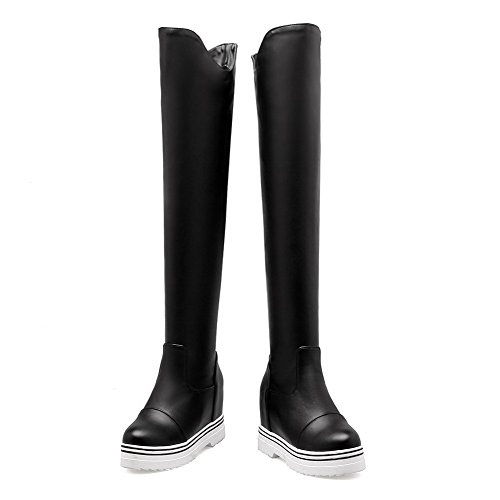 Voguezone009 Flessibile Tallone Stivali Esaltato Tira Dorteil Chiusura Materiale Neri Donna OIrqOH