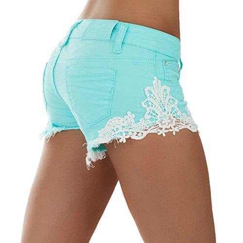 romantica Damen Jeans Hotpants Shorts Bermuda Capri Türkis