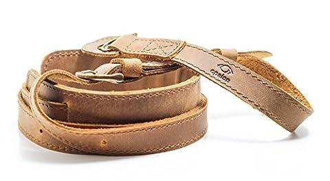 Premium Kameragurt aus Leder (braun, längenverstellbar) -