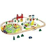 Trenino in Legno Giochi Pista 82 Pezzi Macchinine Ferrovia in Legno Auto Treno Costruzioni Puzzle per Bambini 3 4 5 Anni