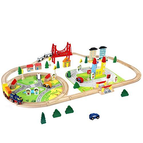 Train en Bois Jouet Circuit Voiture Enfant 82 Pcs Maquette Construction Rail Train Bois Jouet pour Enfant Garçons Filles 3 4 5 6 Ans