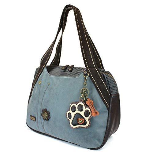 CHALA Große Bowlingtasche mit Geldbörse Indigo, Blau (Ivory Paw Print - Indigo), Einheitsgröße