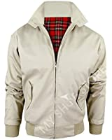 New Adults British Made Harrington Jacket Coat Bomber Classic 1970's Vintage Retro Mod Skin Scooter Tartan Lining Beige L