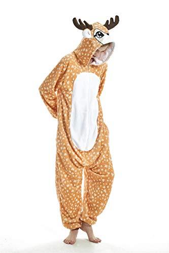 FMDD Tier Cosplay Kostüm Einhorn Cosplay Kostüm Onesie Pyjamas Erwachsene Halloween Cosplay Kostüm (Elch, L(Höhe 168-177 cm))