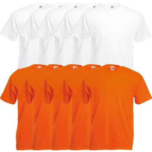 Fruit of the Loom Original Valueweight T Rundhals T-Shirt F140 5er 10er 15er 20er Pack 5x white 5x orange