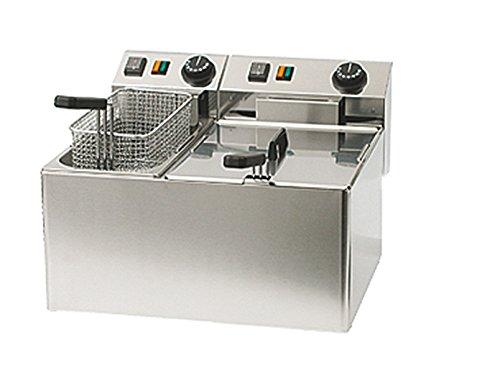 Profi Doppel-Fritteuse, Edelstahl, 5 und 8 Liter, 5100 W, Thermostat bis 190°C; FE 74 E GGG