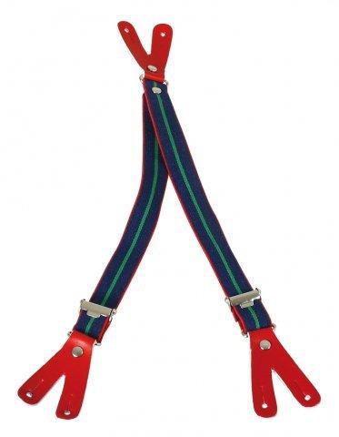 Puppenkleidung, Puppen Hosenträger mit Knopf-Lederlasche