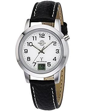 Master Time Funk Basic Series Damenuhr MTLA-10295-12L, Leder Armbanduhr Schwarz