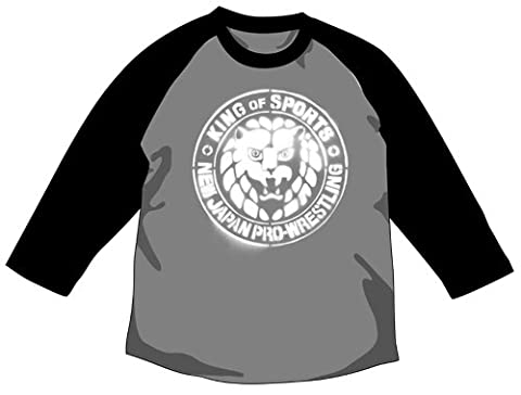 New Japan Pro Wrestling Lion mark stencil Raglan T-shirt Heather Gray x Black Size: XL (japan import)