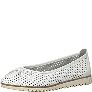 Tamaris 1-1-22121-22 Damen KlassischeBallerinas,Flats,Sommerschuh,elegant,Schleife,Freizeit,Touch-IT,White Leather,40 EU