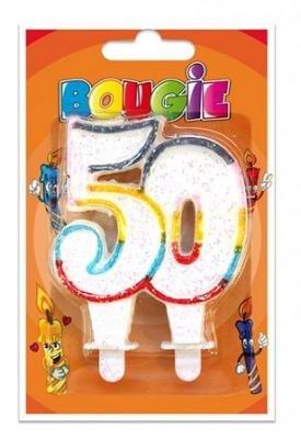 Bougie anniversaire pailletée, 50ans (x1) REF/BBA05 3701052810384