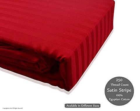 Luxe 250fils 100% coton égyptien satiné à rayures Drap-housse, drap, Housse de couette, taie d'oreiller, Red, Single-Fittedsheet