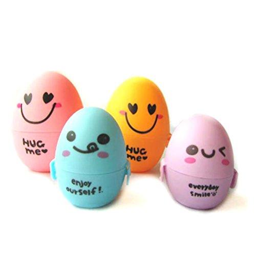 VORCOOL Pâques décors à remplir oeufs Candy Box Cartoon Expression Decor – 4 pcsset (rose + jaune + bleu + violet)