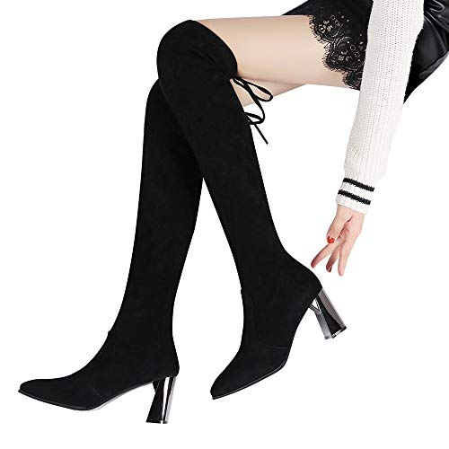 (MYMYG Damen Wildleder Booties Lace Up Schuhe Langschaftstiefel Frauen Runde Zehe Winter warme Stiefel Overknees Wildlederoptik Schlupfstiefe Elegante Schleifen Boots)