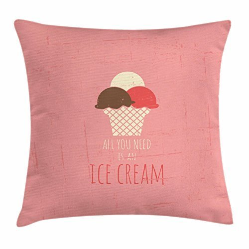 Ice Cream Throw Pillow Cushion Cover, All You Need is an Ice Cream Quote on Grunge Backdrop with Three Scoops in a Cone, Decorative Square Accent Pillow Case, 18 X 18 Inches, Multicolor Brown Leopard Fleece