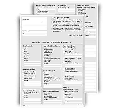 Anamnesebogen für Ärzte und Heilpraktiker, DIN A4 Hochformat, 2-seitig, weiß, 1000 Blatt