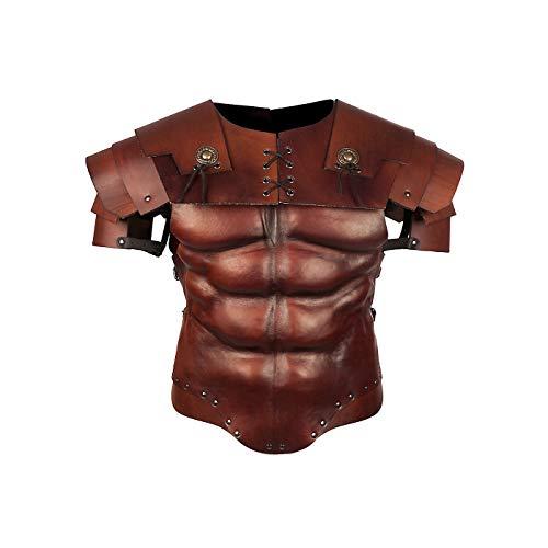 Andracor - Römischer Gladiator Rüstungsset - Brauner Muskelpanzer mit Segmentschultern aus Echtleder für Legionäre, Antike, Sparta & LARP - Römischen Legionärs Rüstung Kostüm