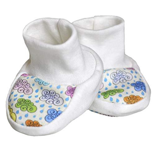 For Babies - Erstlingsschuhe Babyschuhe Babysocken für Mädchen und Jungen - 100% Bio-Baumwolle (0-3 Monate) - Made in EU (Bunte Wölkchen)