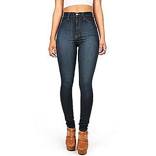 AUSERO Women's Jeans, Skinny, High Waisted Denim Jeggings (S: UK 10, Dark Blue)