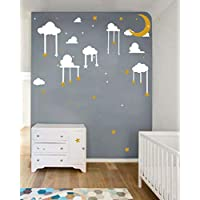 Easma Moon and Stars Decal - Cloud Wall Decals Star Wall Stick Kids Wall Decoration Baby Room Decal Nursery Wall Decal Vinyl Stickers - Wall Decal for Nursery