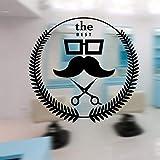 Hjcmhjc Mann Barber Shop Aufkleber Hacken Brot Aufkleber Haarschneidemaschine Rasierer Poster Vinyl Wandkunst Aufkleber Dekor Fenster Dekoration 57 * 59 Cm
