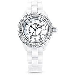 Time100 Fashion Ceramic Strap Diamond-Studded Waterproof Ladies' Quartz Watch White#W50018L.03A