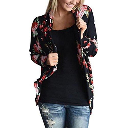 WOCACHI Damen Frühling und Herbst Cardigans Mode Frauen Langarm Blume gedruckt Strickjacken beiläufige Outwear Mantel Tops Black