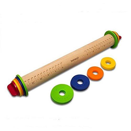 Holz Teig Rolling Pin, verstellbare Fondant Craft Bakeware Antihaft-Rolling Pins, Backen Stick, Dicke Prägung gemustert Kuchen dekorieren Tools 43,2x 4,6cm