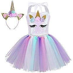 TiaoBug Vestido de Unicornio Niñas para Fiesta Cosplay Disfraz Tutú Falda Lentejuelas Princesa Cuello Cogido con Diadema Conjunto A Colorful 6-7 Años