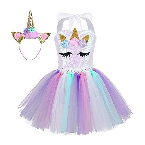 Kostüm Faschings - iEFiEL Einhorn Kostüm für Kinder - komplettes Prinzessin Kostüm Set für Mädchen Kleid mit Blumen Haarreif Zu Karneval Cosplay Fasching (116-122, Bunt mit Pailletten)