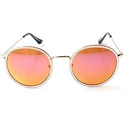 Accessoryo - Runde rosa und gold Rahmen Sonnenbrille mit rosa Revo Linsen