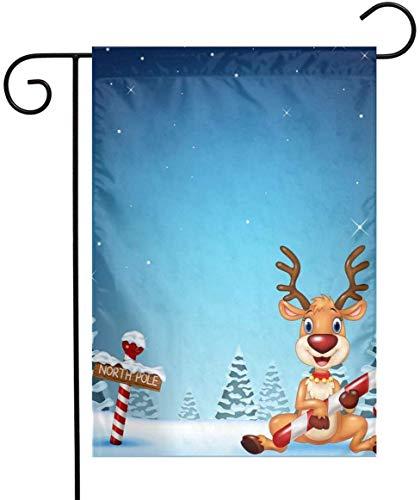 gdingxiantengsubaihuoshang Bandiera del Giardino Estivo - Cervi Che tengono la Caramella di Natale con Bandiera a Doppia Faccia per illuminare la Tua casa 12 'x18'